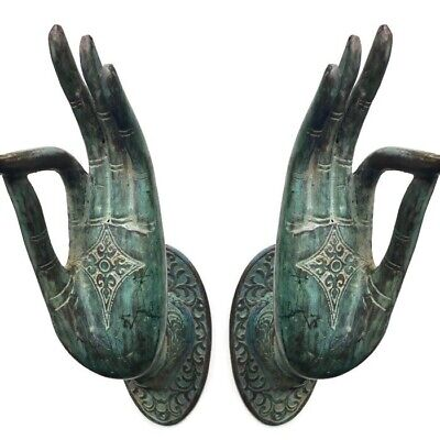 2 exquisite large Buddha Pull handle Finger brass door antique green HAND 25cm B