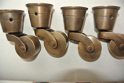 "4 CUP solid Brass foot castors wheel chair table old antique style castor 3 "" B"