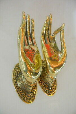 2 exquisite large Buddha Pull handle Finger door polished brass HAND 20cm hook B