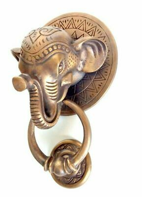 "heavy ELEPHANT trunk front Door Knocker SOLID 100% BRASS old style house  6"" B"