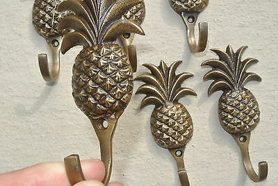 "6 small PINEAPPLE BRASS HOOK COAT WALL MOUNTED HANG TROPICAL old style hook 4"" B"
