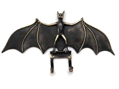 "aged Door BAT hang Hooks old heavy front SOLID BRASS vintage style 7"" B"
