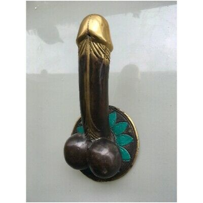 "PENIS shape DOOR PULL or HOOK hand made solid brass 9 "" handle heavy   B"
