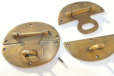 "2 cast heavy HASP & STAPLE 5"" across OVAL catch latch box door solid brass B"