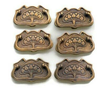 6 medium DECO cabinet handles solid brass furniture vintage age old style 95mm B