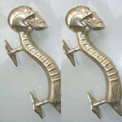 "2 small SKULL handle DOOR PULL spine solid BRASS old vintage style SILVER 8 "" B"