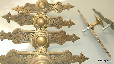 "6 pulls handles solid brass door vintage old style knobs kitchen heavy 5""agedB"