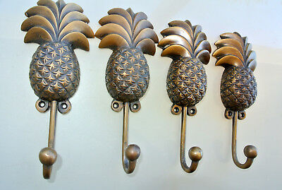 4 large PINEAPPLE COAT HOOKS solid age brass vintage old style 19cm hook beach B