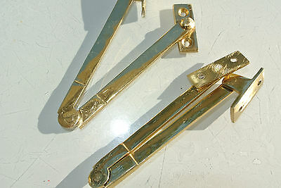 """2 STAY old style house lid BOX antiques catch hinge DOOR heavy POLISHED 4.1/2 """"B"""