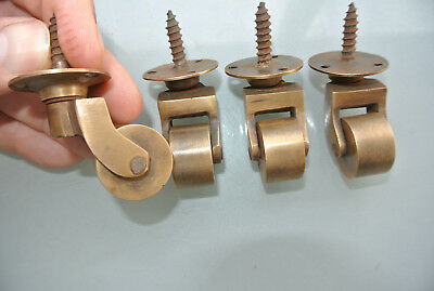 "4 screw castor chair table wheel solid brass 1.3/4 ""high castors old style lookB"