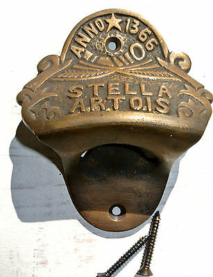 STELLA ARTOIS beer Bottle Opener brass AGED  finish screws included heavy B