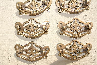 6 heavy vintage old style handles door brass furniture antiques 85 mm pulls B