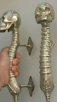 2 large SKULL head handle DOOR PULL spine SILVER over BRASS old style 33 cm B