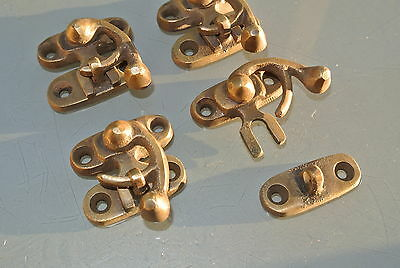 4 small box Latch catch solid brass aged old finish door trinket 3 cm screw B