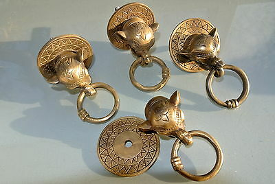 "4 ELEPHANT handle KNOB aged old  Brass PULL ring  knob kitchen 2 1/4"" heavy B"