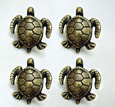 "4 PCS ANTIQUE style TURTLE Cabinet Door solid Brass KNOB Drawer Pull 2"" B"
