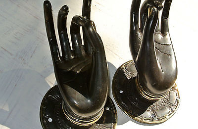 "2 Pull handle hand buddha brass door aged DARK old style knob hook 3.1/2"" B"