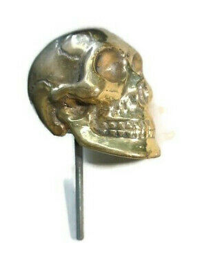 "small brass SKULL head old style Walking stick end KNOB hook 3"" day dead B"