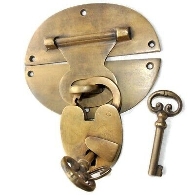 large heavy HASP & STAPLE & Padlock and KEY WORKS 11cm OVAL catch latch B
