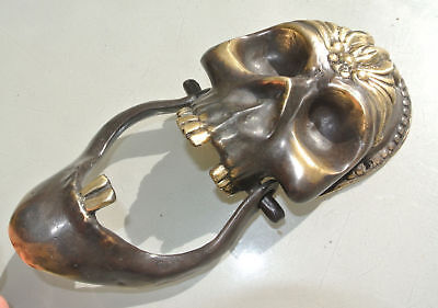 "SKULL head and JAW heavy front Door Knocker SOLID BRASS day of the dead 8"" B"