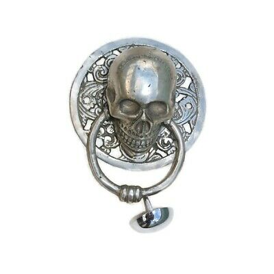 "round SKULL head ring pull Handle sILVER BRASS 4"" day of the dead door KNOCKER B"