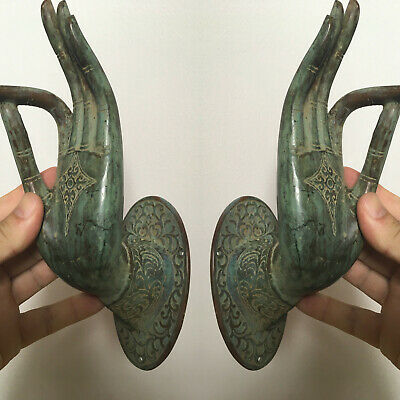 2 exquisite large Buddha Pull handle Finger door green brass HAND 20cm hook B