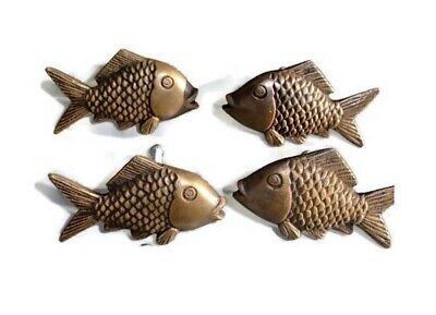 "4 aged ANTIQUE old style FISH Cabinet Door solid Brass KNOB Drawer Pull 2"" B"