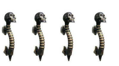 "4 small SKULL head handle DOOR PULL spine AGED  BRASS old style 8"" B"