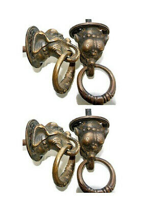 4 aged ELEPHANT handle KNOB aged  Brass PULL knob kitchen heavy small 36 mm B