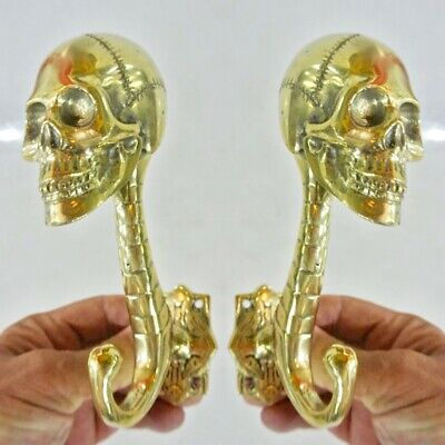 "2 SKULL head 7"" WALL HOOK heavy BRASS polished SCREW wall spine hang 18 cm B"