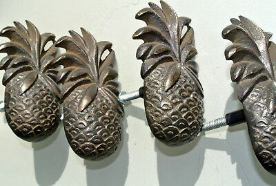 4 small PINEAPPLE solid BRASS knobs TROPICAL VINTAGE old style 75 mm B