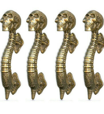 "4 small SKULL head handle DOOR PULL spine natural AGED BRASS old style 8"" B"
