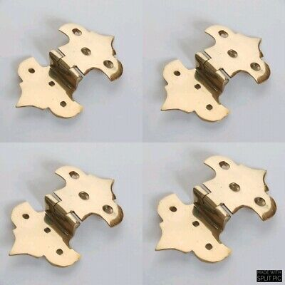 4 small offset fancy scallop solid thin solid Brass DOOR small hinges leadlightB
