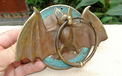 "Door Knocker BAT ring heavy front SOLID pure BRASS vintage antique style 7"" B"