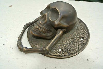 """SKULL handle KNOCKER PULL solid BRASS aged old style DOOR amazing 5"""" B"""