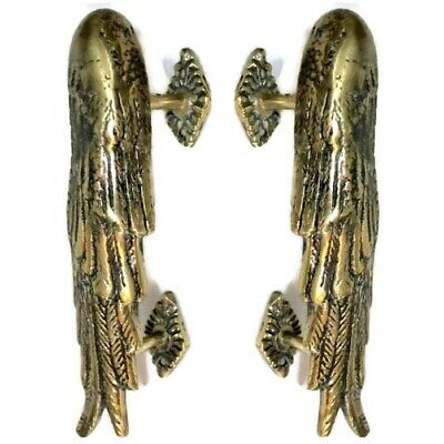 "2 small ANGEL WING 8 "" hollow pure soild brass door pull old style polished B"