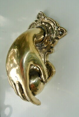 "small hand fist ball front Door Knocker hand 6 "" inches long fingers hinged B"