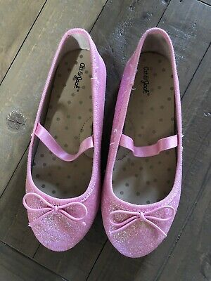 Cat And Jack Pink Sparkly Ballet Shoes With Top Strap Size 12 Girls