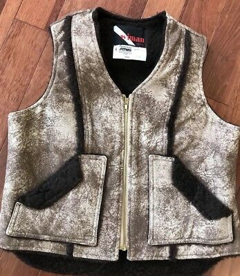 Vintage WIMAN FAUX Shearling Faux Leather Ranch Western Vest Size Large