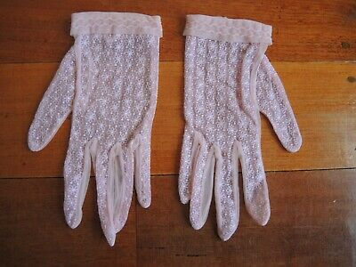 Vintage Pink lace flower patterned hand gloves FREE POSTAGE