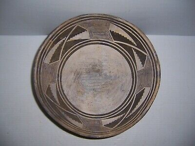"Pre-Columbian Mimbres Geometric Black on White Pottery Bowl Artifact 11.5"" x 5"""