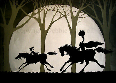 ACEO print folk art Halloween THE CHASE headless horseman Sleepy Hollow scene DC