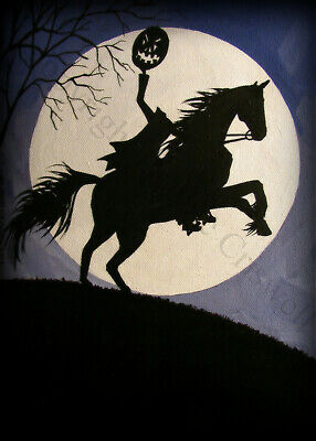 ACEO print folk art Halloween THE HEADLESS HORSEMAN Sleepy Hollow Ichabod DC
