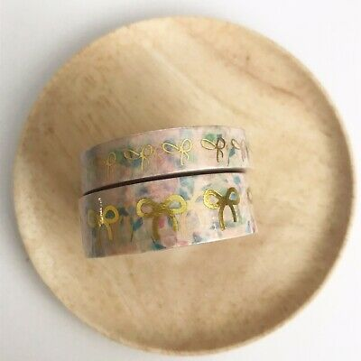NIP Simply Gilded Washi Tape Pink Floral with Hot Gold Bow Set
