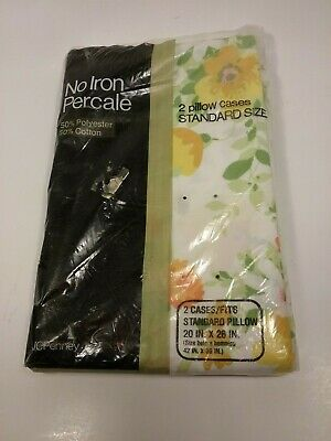 New Vintage JC Penney No Iron Percale 2 Standard Pillow Cases Floral Sealed