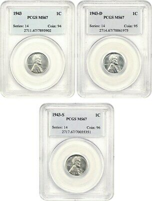 1943-PDS Steel Cents Set 1c PCGS MS67 (3 Coins) Lincoln Cent