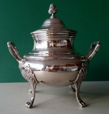 ANTIQUE ORNATE French Empire Style Sterling Silver 950 SUGAR BOWL 19th century