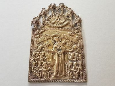 ANTIQUE ORIGINAL Russian Orthodox Brass icon Mother of God Joy of All Who Sorrow
