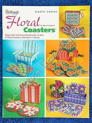 Plastic Canvas Pattern Floral Coasters & Holders 12 Sets Rose Daffodil Violets