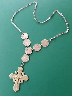 MAGNIFICENT BULKY ANTIQUE Orthodox silver cross with RUSSIAN COINS + gilding